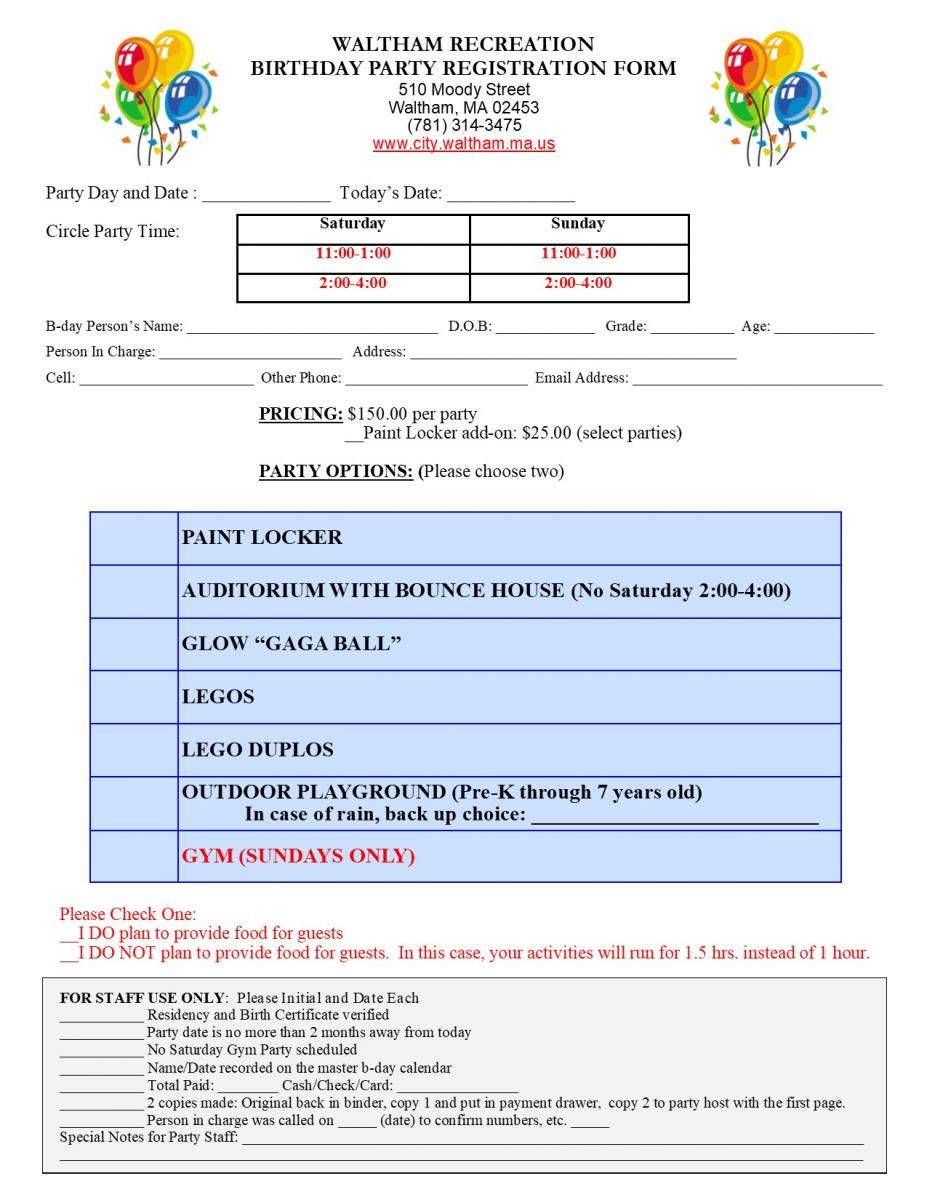 Bday party form